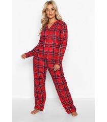 plus geborstelde geruite blouse en broek kerst pyjama set, rood