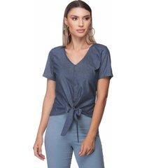 blusa t-shirt zaiko jeans poa amarrar manga curta 2401 azul - azul - feminino - algodã£o - dafiti