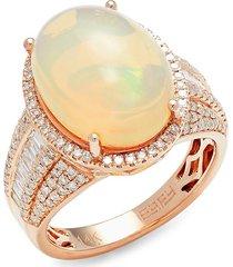 effy women's 14k rose gold, diamond & ethiopian opal ring - size 7