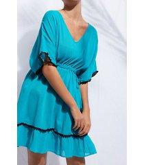 calzedonia pom pom dress woman blue size tu