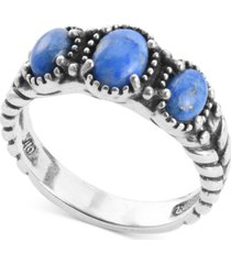american west lapis lazuli three stone statement ring in sterling silver