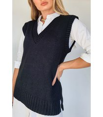 knitted tank top, black