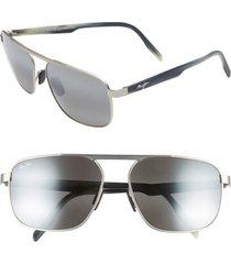 men's maui jim waihe'e ridge 60mm polarized sunglasses - brushed grey/ neutral grey