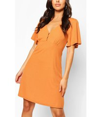 button front flutter sleeve tea dress, mustard