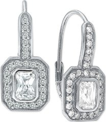 cubic zirconia art deco leverback drop earrings in sterling silver