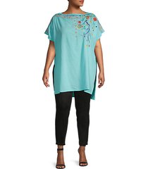 plus dahlia floral-embroidered cotton tunic