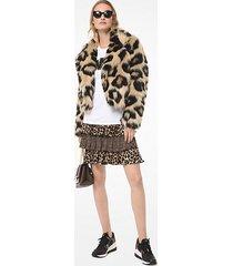 mk giacca in pelliccia sintetica stampa leopardo - cammello scuro (marrone) - michael kors