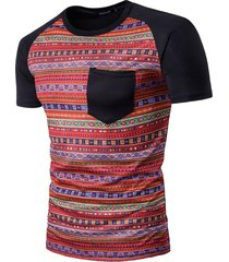 camisas de hombre casual manga top corta impresión digital costura camiseta