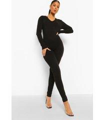naadloze jumpsuit met lange mouwen, black