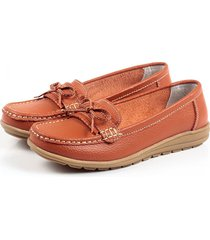bowknot slip on leather soft mocassini pigri casuali piatti