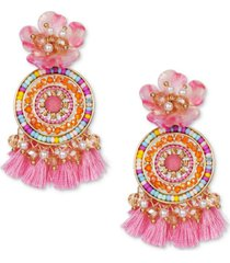 inc gold-tone imitation pearl & multicolor bead flower & tassel statement earrings, created for macy's