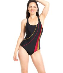 traje de baño deportivo con franjas est. rojo samia