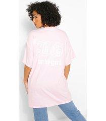 plus t-shirt met 'babygirl'-sloganprint op de achterkant, roze