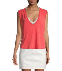 free people women's sleeveless v-neck top - red lotus - size xs