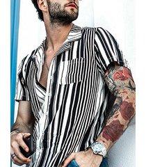 incerun hombres verano vacaciones hawaiano camisa raya casual manga corta camisa