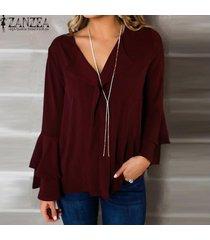 zanzea mujeres llamarada manga de bell más tapa del tamaño camiseta cuello en v blusa de la gasa -vino rojo