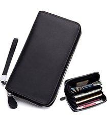 vera pelle multi-slot multifunzione 6 pollici telefono borsa frizione borsa portafoglio lungo per donna uomo