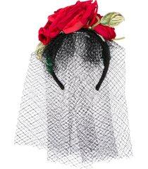 dolce & gabbana veiled rose headband - black