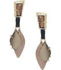 long scooped drop clip-on earrings