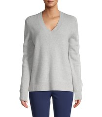 saks fifth avenue women's cashmere v-neck sweater - grey - size xs