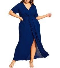 plus size women's city chic knot front maxi dress, size large - blue