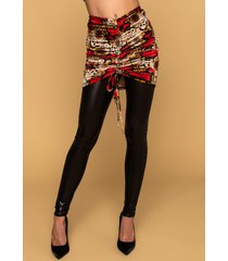 akira whats poppin velvet snake print ruched skirt