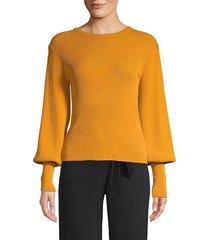 lea & viola women's bishop-sleeve roundneck top - mustard - size xs