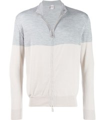 eleventy two-tone zip-up sweater - grey