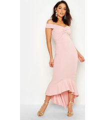 fishtail dip hem maxi bridesmaid dress, soft pink