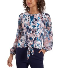msk floral-print tie-hem blouse