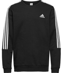 essentials fleece cut 3-stripes sweatshirt sweat-shirt tröja svart adidas performance