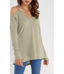 light grey cold shoulder long sleeves curve hem t-shirt