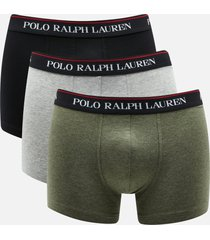 polo ralph lauren men's 3 pack trunk boxer shorts - black/andover heather/moss green - s