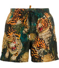 dsquared2 tiger print swim shorts - gold