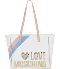love moschino women's striped logo tote - pink white