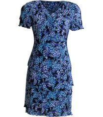 connected pleated floral-print tiered dress