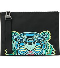 kenzo embroidered tiger pouch - black