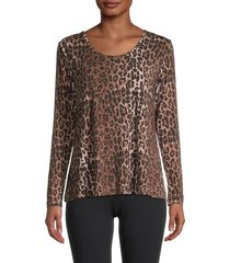 johnny was women's leopard & floral top - multi animal print - size m