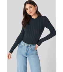 na-kd ribbed high neck knitted sweater - blue