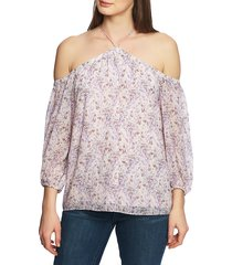 women's 1.state off the shoulder sheer chiffon blouse, size xx-small - purple