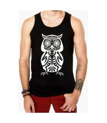 camiseta regata criativa urbana caveira coruja mexicana