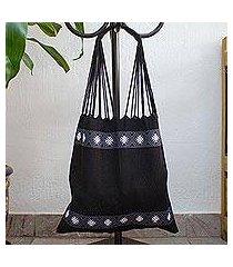 cotton shoulder bag, 'ebony brocade' (mexico)