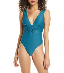 women's chelsea28 belted textured one-piece swimsuit, size x-small - blue