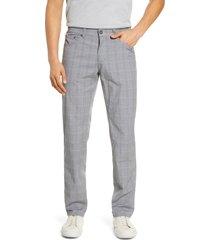 men's brax cooper fancy summer check five-pocket pants, size 35 x 32 - grey
