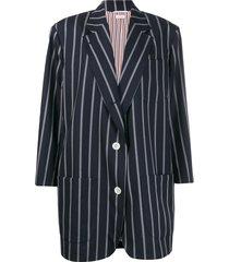 thom browne vertical-stripe oversized coat - blue