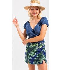 carissa palm leaf skort - blue