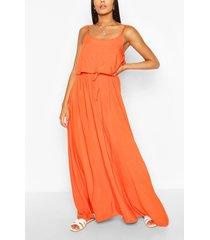 maxi jurk met bandjes en dubbele laagjes, oranje