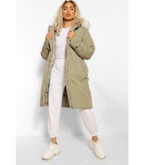 oversized lange parka jas met ceintuur, khaki