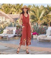 sundance catalog women's elia linen tie jumpsuit in adobe 2xl