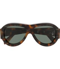 off-white oversized pilot sunglasses - brown